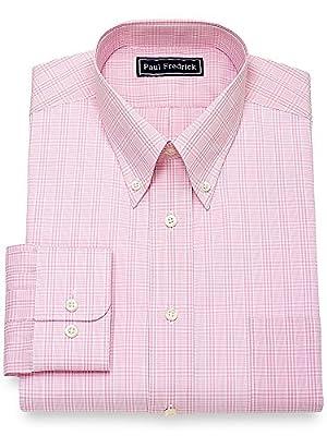 Paul Fredrick Men's Cotton Glen Plaid Dress Shirt