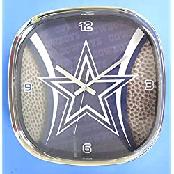 Dallas Cowboys, Large Square Chrome Clock with Rounded Corners. Ideal for Family Room, Man cave or Office Decor.