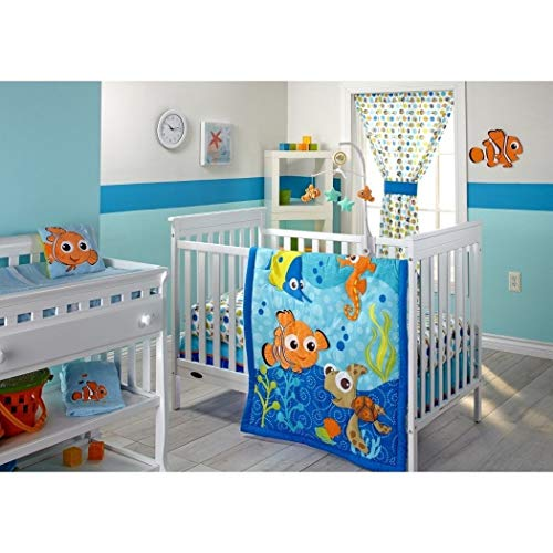 ON 3 Piece Blue Orange Green Finding Nemo Crib Bedding Set, Newborn Disney Themed Nursery Bed Set Infant Child Cute Animals Nautical Ocean Water Fish Pixar Reef Blanket Comforter, Cotton Polyester - Finding Sheets Nemo Disney