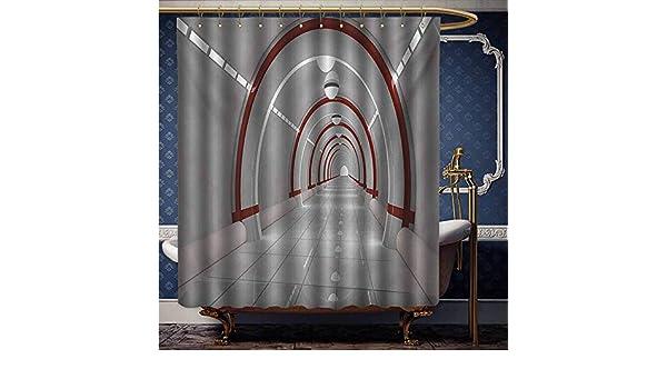 HouseLook - Cortina de ducha de tela de poliéster con diseño de estrellas y nubes de gas en el planeta mágico Cosmos Universo de poliéster con estampado de flores, juego de cortinas