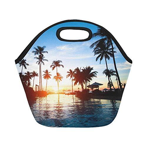 Insulated Neoprene Lunch Bag Beautiful Sunset Beach Resort T