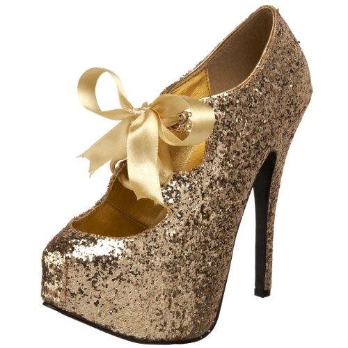Bordello Door Pleaser Vrouwen Teeze 10 Glitter Platform Pomp Gold Glitter