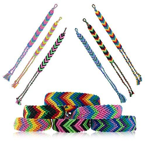 (Friendship Bracelets for Kids, Teens, Girls, Boys | 12 pcs Handmade Woven Friendship Bracelet Bulk Set | Cool & Cute Stackable True V-Design Bracelets - Great Party Favors (Multiple Colors) (12 pcs))
