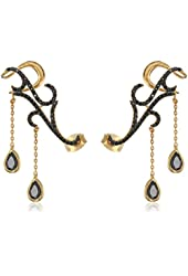 nOir Jewelry Cubic Zirconia Ear Cuffs with Dropped Stones
