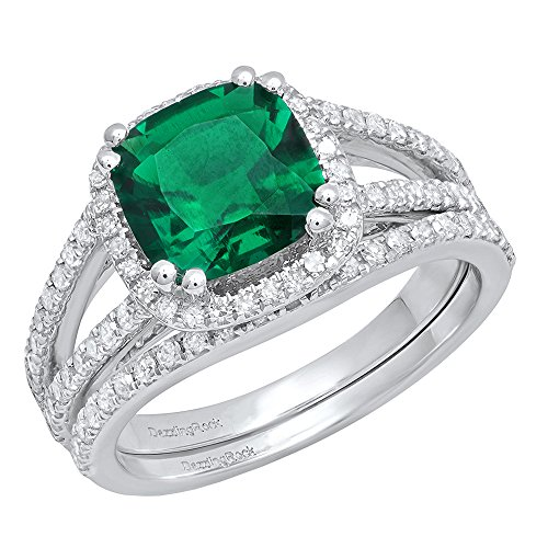 Dazzlingrock Collection 14K 8 MM Cushion Lab Created Emerald & Round Diamond Bridal Ring Set, White Gold, Size 6