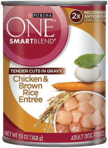 Purina ONE SmartBlend Wet Dog Food, Tender Cuts in Gravy Chicken & Brown Rice Entrée, 13-Ounce Can, Pack of (Purina One Chicken And Rice)