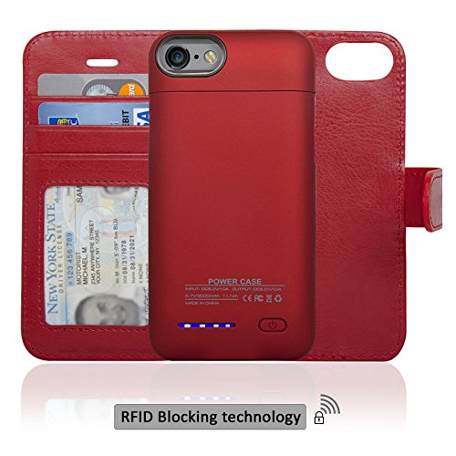 Navor RFID Folio Wallet Magnetic Detachable Power Battery Case 3000mAh for iPhone 7 / 6 / 8 [4.7 Inch] - Red