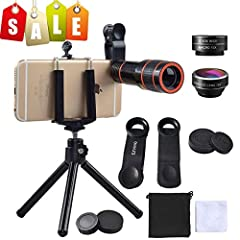 12X Optical Telescope Lens:   Size: 1.2x3.8 inch Objective lens diameter: 20mm Minimum focus distance: 9.8ft Compatible for: iPhone/Samsung/HTC/iPad/Tablet PC/laptops Objects within 370m/1200ft can be shoot very clearly 198° Fisheye Lens:  Fi...