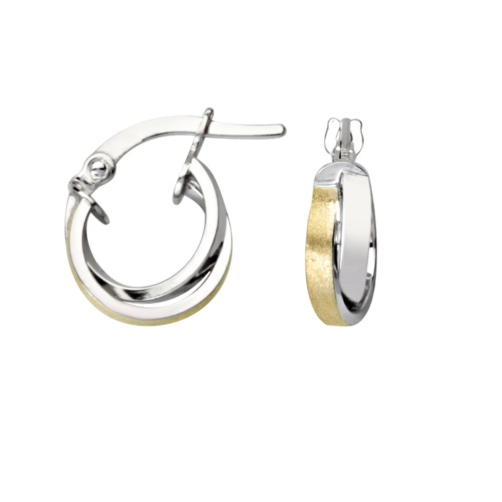 10Kt Gold Intertwined Square Tube Mini Hoop Ear Hoop Earrings