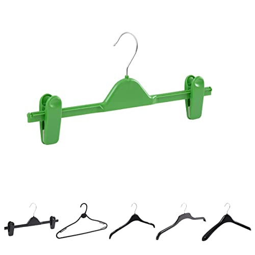 Borders Homewares Pack of 10 Green 36cm Clip/Skirt/Trouser Plastic Hangers - Available in 7 Colours, choose from Clips, Tops, Jacket, Knitwear & Multipurpose hangers.