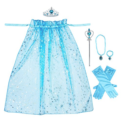 (Toiijoy 7Pcs Girls Princess Snowflake Cape Costume Dress up Set with Princess Gloves,Tiara Crown,Wand and)
