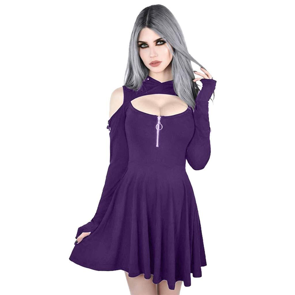 AmyDong Women's Fashion Punk Gothic Solid Color Low Cut Cold Shoulder Zipper Hooded Mini Dress Purple