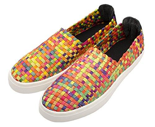 Santimon Scarpe Casual Da Donna Tessute Confortevoli Scarpe Da Trekking Sportive Elastiche Slip On Sneaker Multicolore