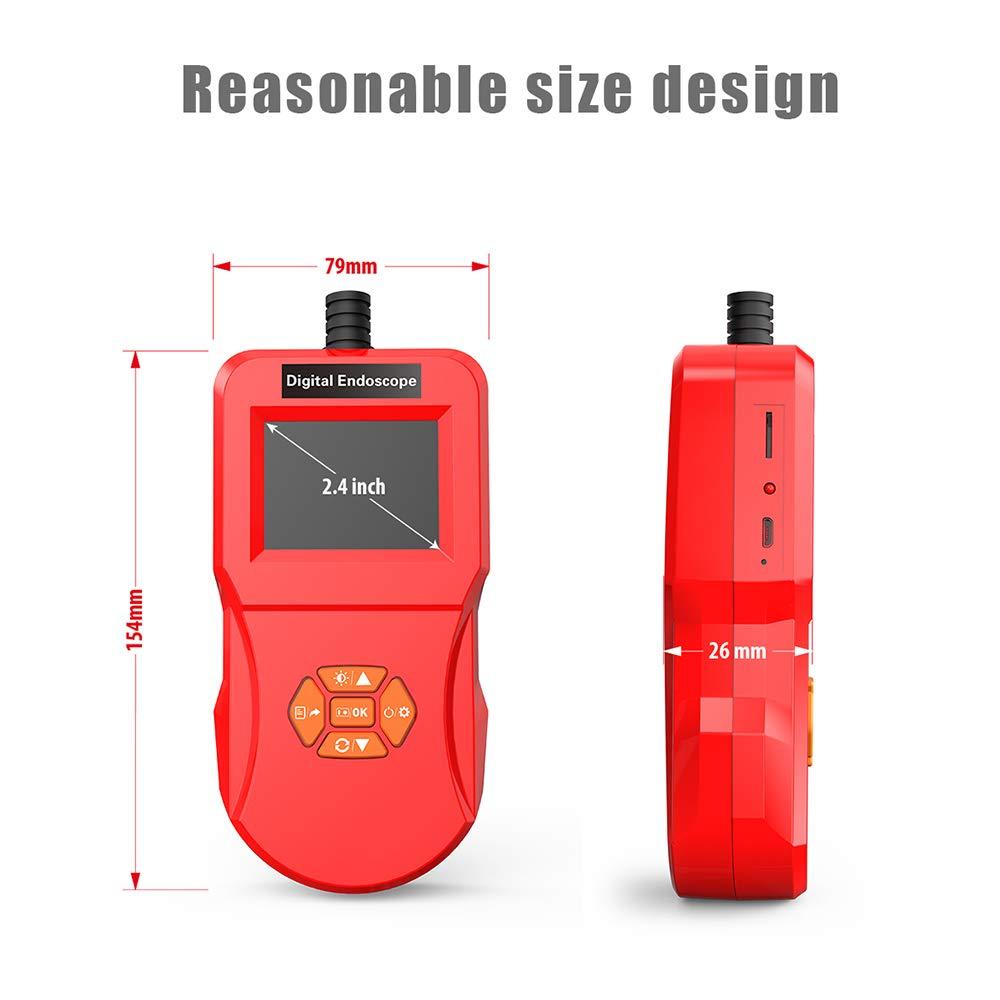 RED, 3M ONEVER Industrielle Endoskop-Inspektionskamera mit 5,5-mm-Mikroschlangenkamera Hi-Vision 720P IPS-Bildschirm IP67 Wasserdicht 6 einstellbare LED-Leuchten Endoskop