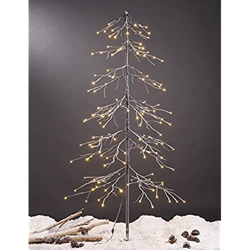 Modern christmas tree amazon lightshare snowy fir tree 144 led lights for indoor and outdoor use warm white for homefestivalpartychristmas sciox Gallery
