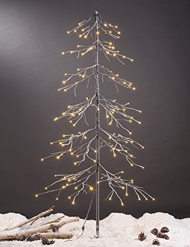 Lightshare Snowy Fir Tree, 144 LED Lights, For Indoor and Outdoor Use, Warm White, For Home/Festival/Party/Christmas (Trees Fir White)