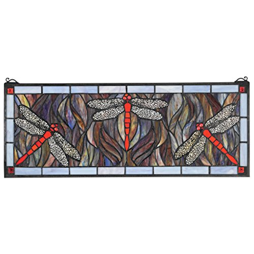 ld Green Dragonfly Tiffany-Style Stained Glass Window ()