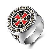 Kebaner Vintage Cross Knight Templar Square Band Stainless Steel Gothic Heavy Metal Signet Ring Biker 12