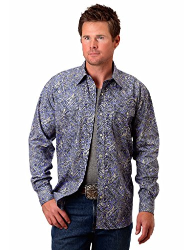 Roper Floral Shirt - Roper Western Shirt Mens L/S Floral Snap L Purple 03-001-0225-0351 PU