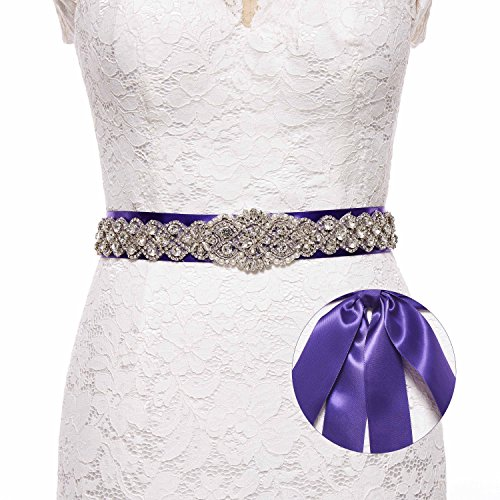 Sisjuly Pearl Rhinestones Sash Beaded Belts for Wedding Party Ball Prom Evening Dress Purple