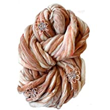 Jumbo Super Bulky Floral Wool Knitting Yarn, Flower Child from Knit Collage (Toast)