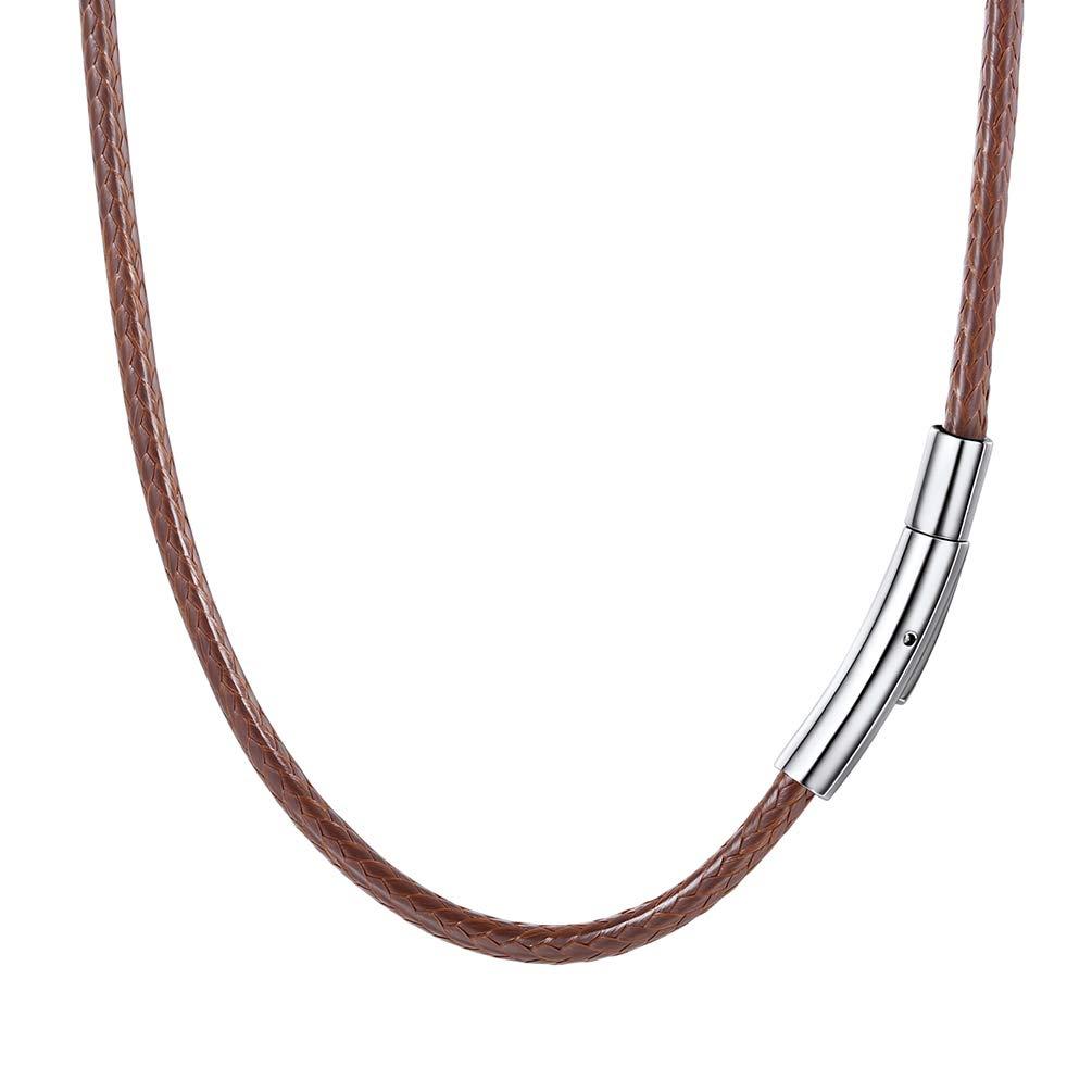 PROSTEEL 紐 ネックレス 黒 メンズ チョーカー ブラック ワックスコード 編み ステンレス 留め金 耐久性に優れた(幅2mm)