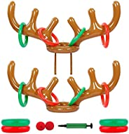 Inflatable Reindeer Antler Hat with Rings; Inflatable Reindeer Antler Ring Toss Game for Family Christmas Part