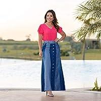 Saia Jeans Longa Moda Feminina Joyaly Moda Evangelica