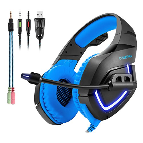Gaming Headset K1-B Professional PC Headset Einziehbare Kopfhörer USB, LED-Leuchten Over ear Headset für PS4, PC ,Xbox One,Laptop, Handy (inclusive dem Adapterkabel ) Blau