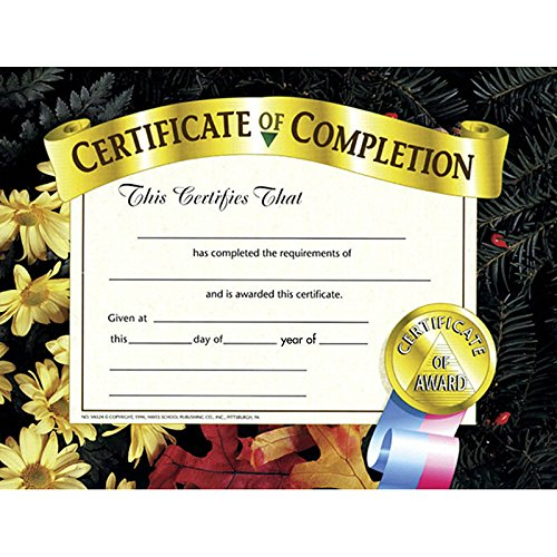 H-VA524 - CERTIFICATES OF COMPLETION 30 PK