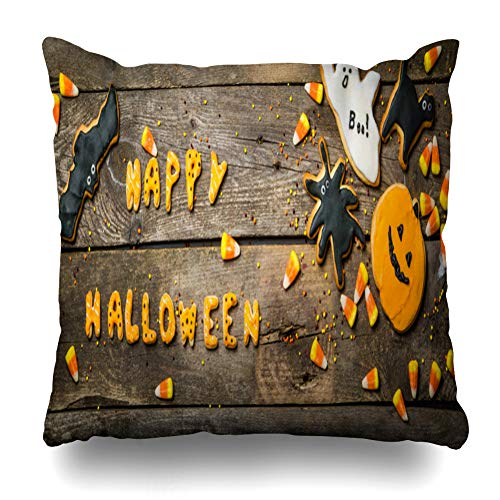 (Pakaku Decorativepillows Case Throw Pillows Covers for Couch/Bed 18 x 18 inch, Halloween Concept with Cookies and Candies Home Sofa Cushion Cover Pillowcase Gift Bed Car Living)