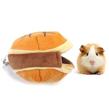 AUOKER cobaya, jaula de hámster enana para cama, forma de hamburguesa, cobaya, casa de cerdo, suave y cálida, transpirable, para mascotas, saco de dormir, ...