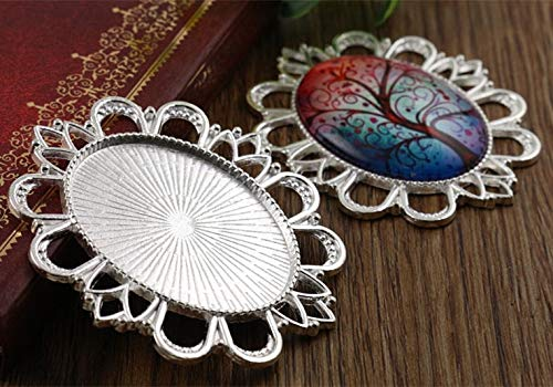 Pendant Trays - 5pcs 30x40mm Inner Size 4 Colors Plated Classic Pierced Style Cabochon Base Setting Charms Pendant Tray