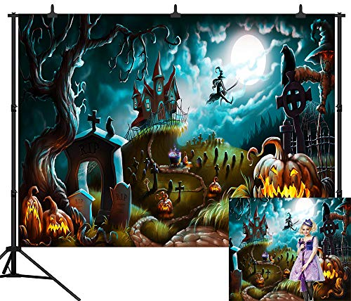 Halloween Horror Nights Backgrounds (DePhoto 7X5FT Halloween Moon Night Scary Haunted Castle Horror Graveyard Backdrop Happy Halloween Seamless Vinyl Photography Photo Background Studio Prop)