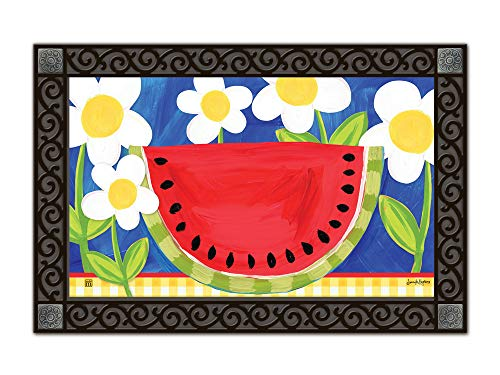Studio M MatMates Summer Watermelon Whimsical Decorative Floor Mat Indoor or Outdoor Doormat with Eco-Friendly Recycled Rubber Backing, 18 x 30 Inches