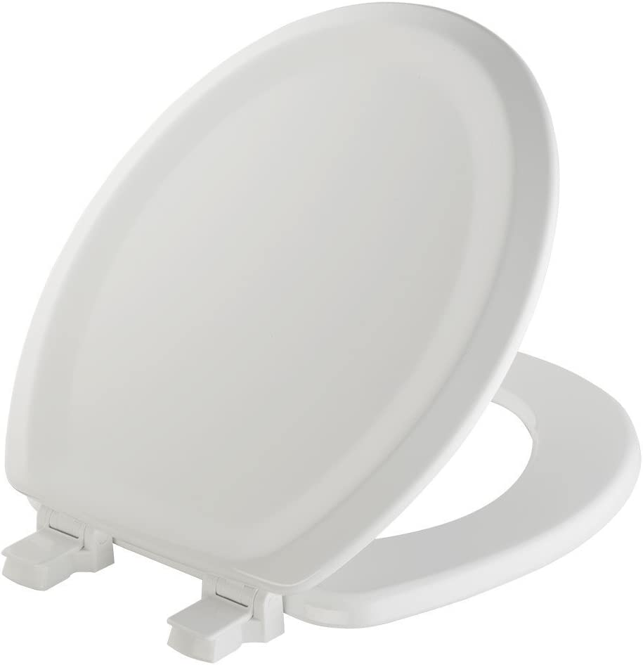 MAYFAIR Sculptured Traditional Toilet Seat will Never Loosen and Easily Remove, ROUND, Durable Enameled Wood, White, 25ECA 000