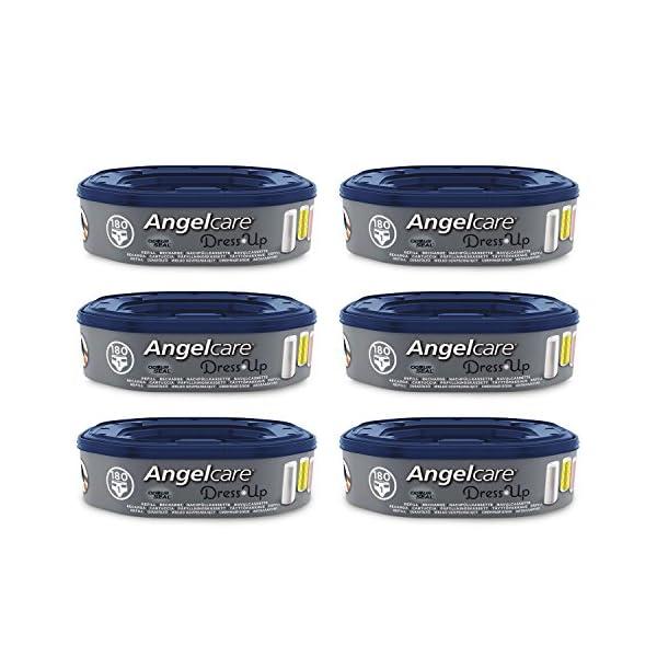 Angelcare - Dress Up - Recharges Octogonales pour Poubelle à Couche Dress up/Essential - Anti Odeurs et Grande Capacité - Lot de 6 1
