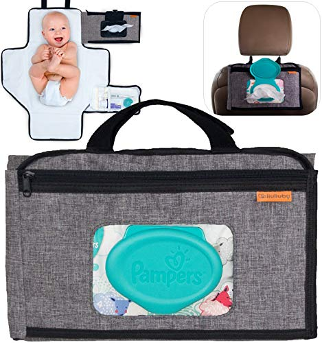 liuliuby Smart Changing Kit – Portable Diaper Changing Pad with Front Wipe Pocket and Bonus Wipe Pouch – Extra Large Mat for Baby and Toddler