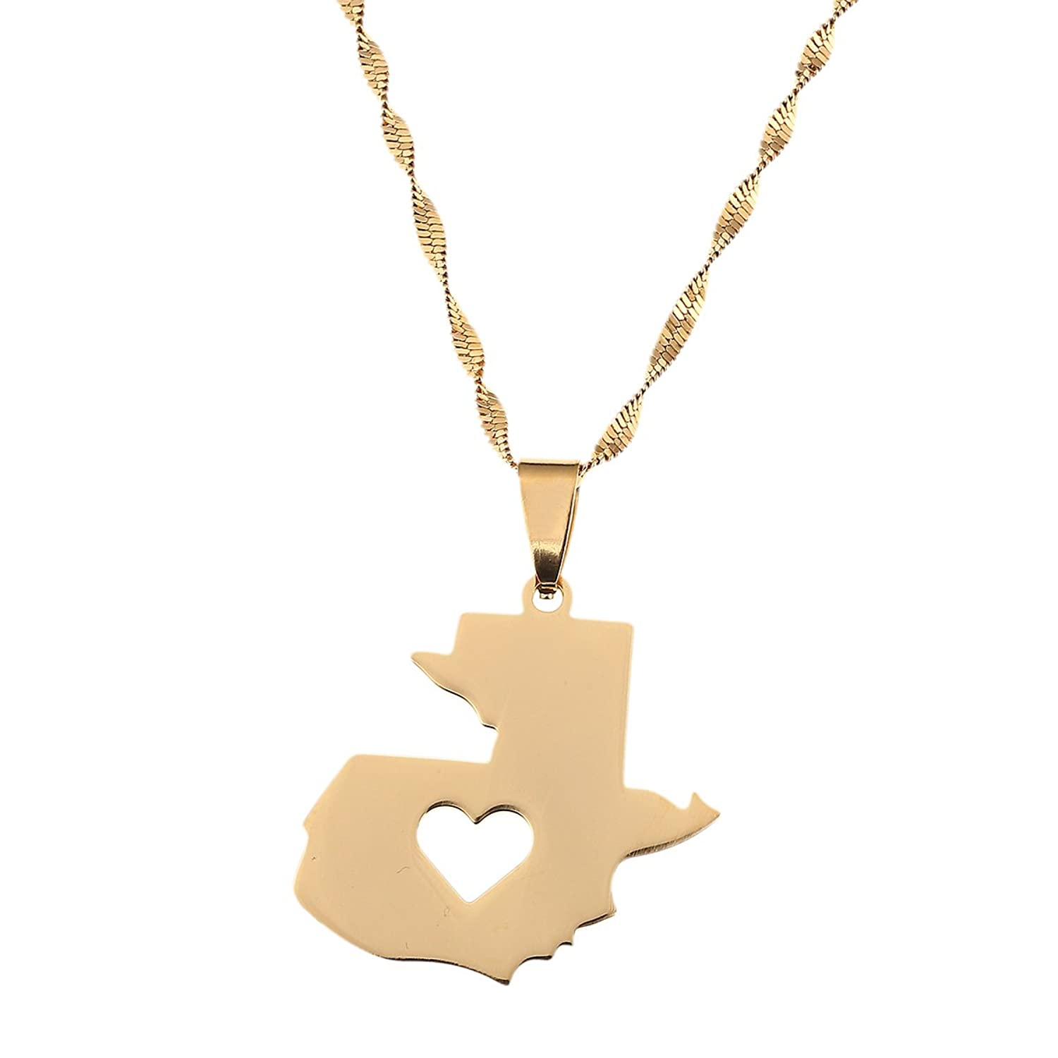 Stainless Steel Guatemala Map Pendant Necklace Gold Color Jewelry Map of Guatemala