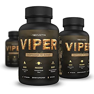 Best Fat Burner - Thermogenic Fat Burning Supplement for Men and Women - VIPER by Neovicta - Weight Loss Solution Containing Green Tea, Raspberry Ketones & Yohimbe - 2 Month Supply