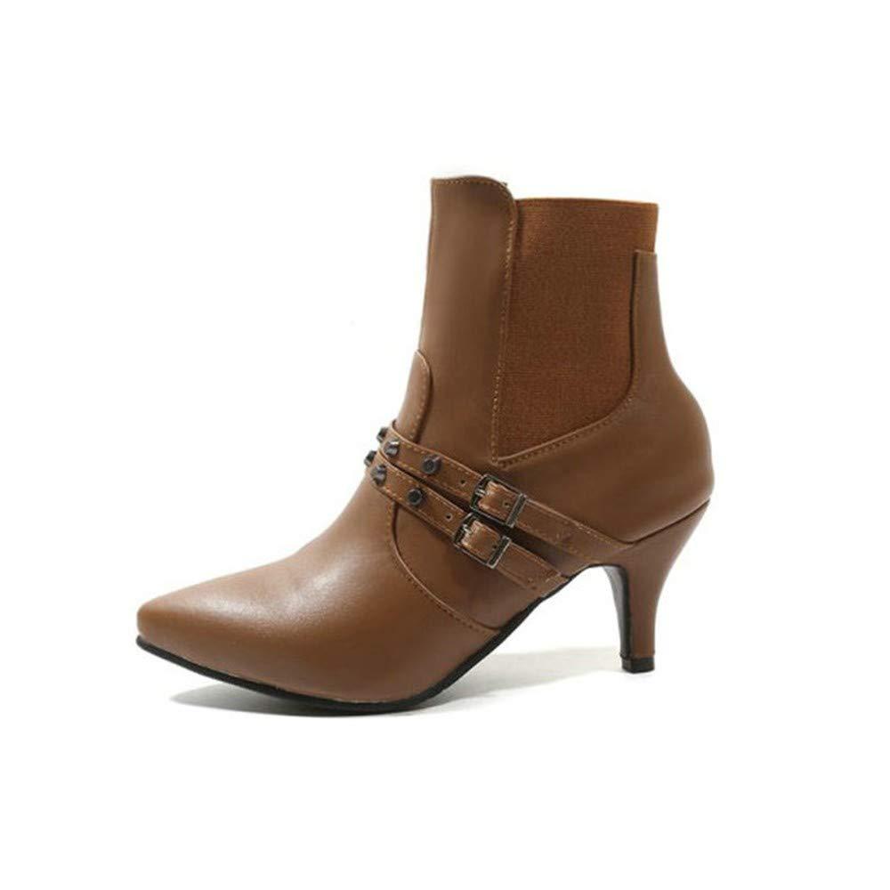 UENGF High Heel Frauen Slip On Spitzschuh Dünne High Heel Hochzeit Pumps Schuhe Büro Casual Schuhe Winter Warme Stiefel