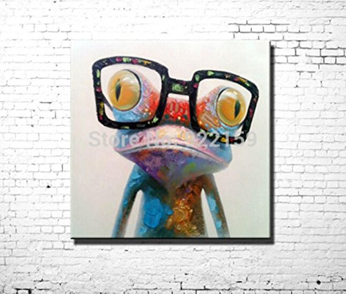 Happy Frog Wearing Glasses - Cartoon Animal Hand-Painted Oil Painting On Canvas Morden Abstract Wall Art Home - Kauai On Shopping