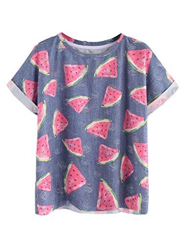 SheIn Women's Watermelon Print Ripped Rolled Short Sleeve T-Shirt