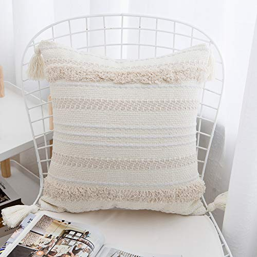- famibay Woven Tufted Tassel Throw Pillow Covers Fringe Sofa Couch Cushion Cover Decorative Square Cotton Pillows Cover ONLY 17