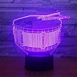 Cable Drum Coffee Table Cute Smart Touch Drum 7 Colors Changing Optical Illusion Night Light Touch Table Desk Lamps 3D Glow LED Lamp Art Sculpture Beside Lights Lighting Effects Birthday