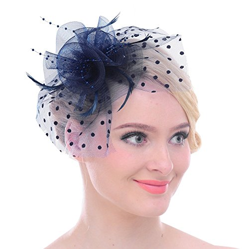 Fascinators Sinamay Hats for Women for Tea Party Kentucky Derby Wedding Cocktail Mesh Feathers Hair Clip Navy
