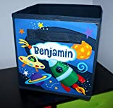 Outerspace Rocket Ship Fabric Bin Boy's Personalized Bedroom Nursery Organizer for Toys Clothing Storage Bin Tote Kids Organization FB0061