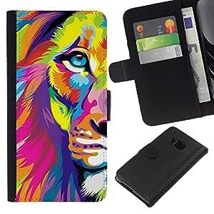 KLONGSHOP // Tirón de la caja Cartera de cuero con ranuras para tarjetas - Cartel del arte colorido vibrante Animal - HTC One M7 //
