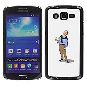 Ihec Tech Hombre de la cerveza Arte Dibujo vacaciones relajadas / Funda Case back Cover guard / for Samsung Galaxy Grand 2