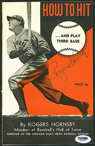 autographed-signed-rogers-hornsby-autographed-6x9-instructional-how-to-hit-booklet-psa-dna-authentic